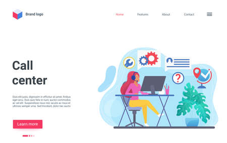Cartoon concept landing page, banner website design with consultant hotline online chat, professional supporter answering helpdesk service. Customer support, help call center vector illustration