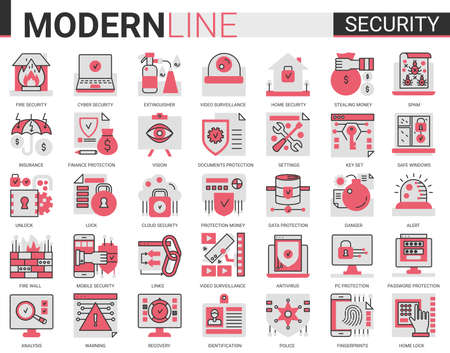 Security flat line concept symbols. Data PC Protection technology. Smart home safety, secure database, data privacy modern red black icons set. Vecteurs