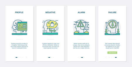 Negative stress reaction, human brain process vector illustration. UX, UI onboarding mobile app page screen set with line failure alarm symbols, negative difficult work result, unsuccessful brainstorm
