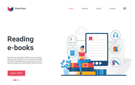 Website landing page creative design with cartoon man student character reading book, using bookreader or smartphone library app. Online distance education, e-books technology vector illustration
