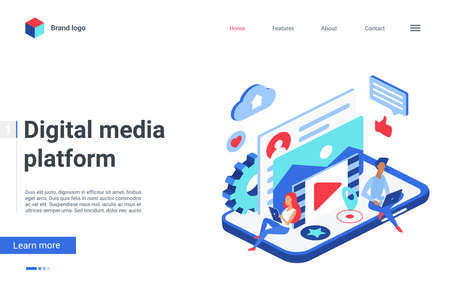 Website landing page creative design with cartoon isometric man woman user characters work with multimedia files database, upload and play music or video film. Digital media data vector illustration