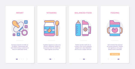 Feeding baby vector illustration. UX, UI onboarding mobile app page screen set with line newborn and bottle, food infant baby eating accessory and healthy nutrition vitamins for child health Ilustración de vector