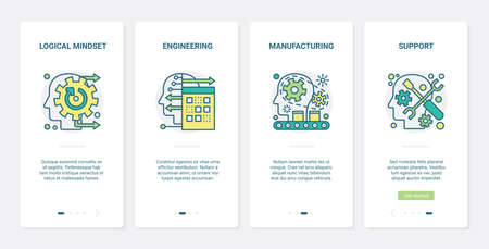Mind brain technology vector illustration. UX, UI onboarding mobile app page screen set with line logical thinking brainstorm symbols, manufacturing engineering and support mental smart processes