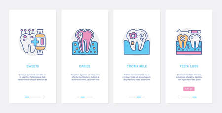Dental care, bad tooth vector illustration. UX, UI onboarding mobile app page screen set with line dentistry medical healthcare symbols of tooth enamel damage from sweets, tooth loss and cracked teeth