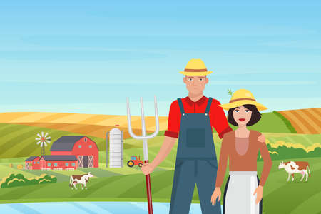 Farmers people and farm landscape vector illustration. Cartoon couple villagers characters standing together, cows grazing on green grass countryside farmland fields, village barn and mill background