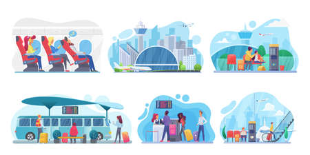 People travel by plane, bus vector illustration set. Cartoon family with child characters traveling by airlines, waiting for airplane arrival in airport, sitting on bus station bench isolated on white