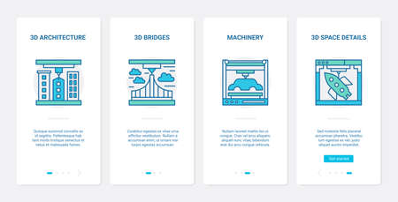 3d architecture and machinery modelling design vector illustration. UX, UI onboarding mobile app page screen set with line details of machine model, bridge structure and space ship virtual designing.