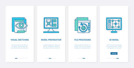 3d model file processing design vector illustration. UX, UI onboarding mobile app page screen tech set with line process of document preparation, visual sketching, designing and modelling technology.