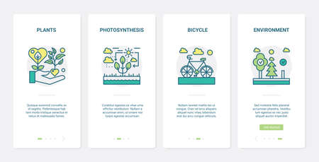 Eco green technology to save ecology vector illustration. UX, UI onboarding mobile app page screen set with line saving environment symbols, photosynthesis of plants, eco friendly bicycle transport.