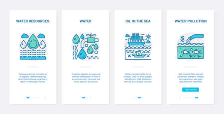 Eco water pollution problem vector illustration. UX, UI onboarding mobile app page screen set with line water resources symbol, oil spill in sea or ocean pollutes ecology ecosystem of environment