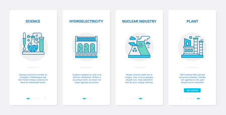 Industry technology vector illustration. UX, UI onboarding mobile app page screen set with line nuclear industrial symbols, science research for plant or factory, hydropower hydroelectric station
