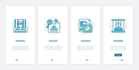 Law and judgement of criminal concept vector illustration. UX, UI onboarding mobile app page screen set with line crime abstract symbols with wanted criminal person, prison and prisoner, evidence
