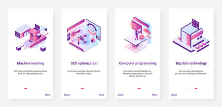 Machine learning, programming code data technology vector illustration. UX, UI onboarding mobile app page screen set with cartoon 3d programmer works on tech seo optimization, computer machinery 矢量图像