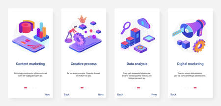Content marketing creative digital technology vector illustration. UX, UI onboarding mobile app page screen set with cartoon 3d tech data analysis process for social media promotion, business service
