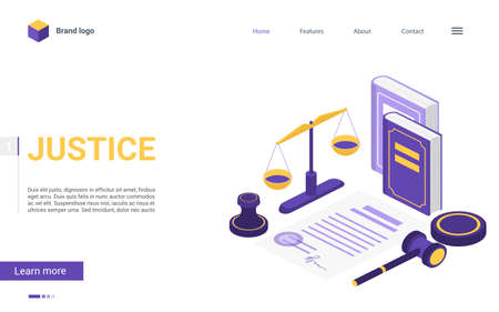 Isometric justice and law firm vector illustration. Cartoon 3d concept landing page with courtroom items, mallet hammer of judge lawyer, pen scale balance of justice, judgment books legal court symbol