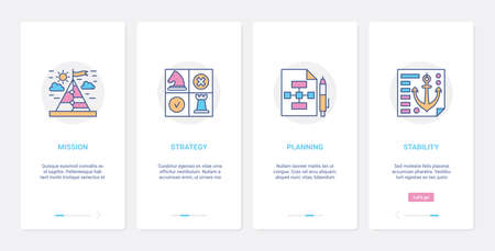 Business success strategy concept vector illustration. UX, UI onboarding mobile app page screen set with line successful mission statement, management planning, business stability abstract symbols