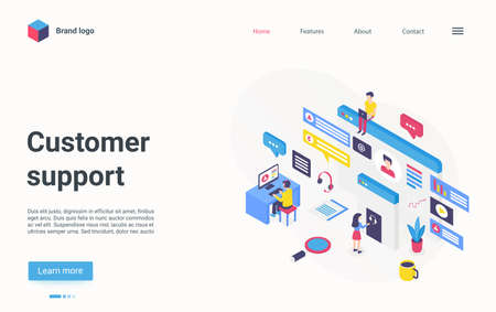 Customer support hotline center concept isometric vector illustration. Cartoon 3d online helpdesk service with agent operator people wearing headsets consulting clients, modern technology landing page