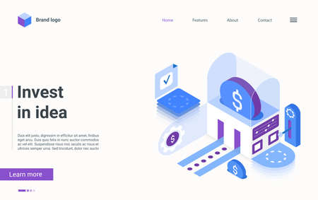 Invest in idea, crowdfunding concept isometric vector illustration. Cartoon 3d investment in idea or fund business startup, fundraising innovation with money coins, finance technology landing page