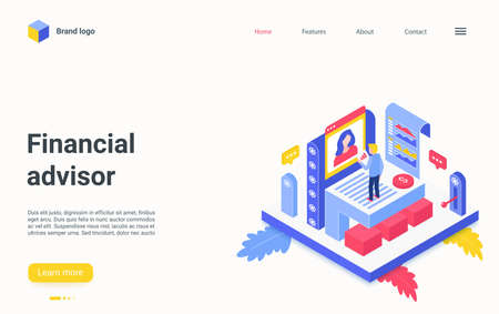 Financial advisor service isometric vector illustration. Cartoon 3d expert manager character consulting, business consultant working on report charts, economic finance analysis research landing page Vektoros illusztráció