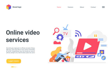 Online video web service vector illustration. Cartoon user woman character watching with cat tv online channel, movie or video vlog content, live stream or webinar.
