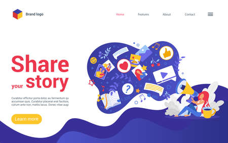 Share your story on social media vector illustration. Cartoon woman user character holding megaphone, blogger storyteller sharing visual content in bubble, viral photo video blog story landing page.