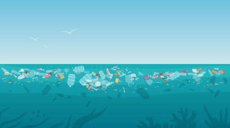 Garbage in polluted sea ocean water vector illustration. Cartoon nature scenery with plastic bottle trash waste rubbish floating on dirty surface water, global environmental world problem background Vetores