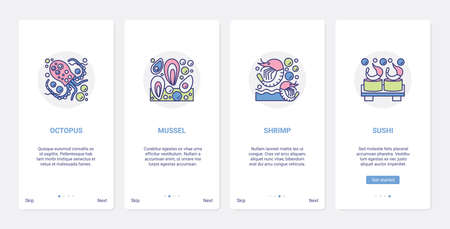 Seafood sushi rolls food menu ingredients vector illustration. UX, UI onboarding mobile app page screen set with line octopus mussels shrimp prawn symbol collection for recipes of japanese cuisine