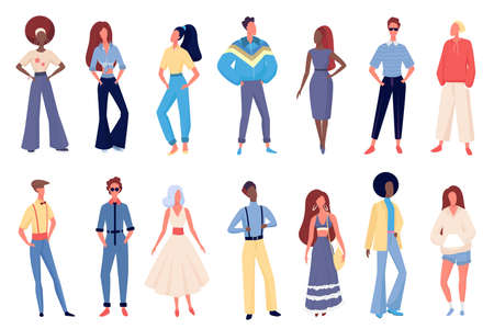 People in old fashion clothing vector illustration set. Cartoon young fashionable female and male characters standing in row, wearing hippie disco boho old fashioned clothes costumes isolated on white