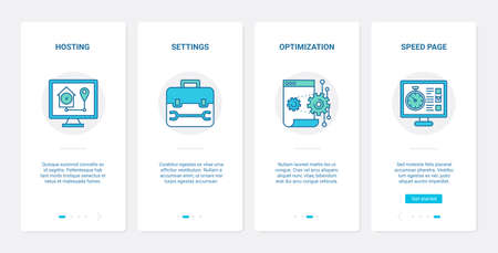 Web page optimization modern internet technology vector illustration. UX, UI onboarding mobile app page screen set with line right tech settings for website download speed, homepage hosting symbols. Vector Illustration