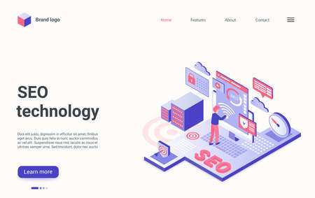 SEO technology isometric landing page, analyst researcher working to research web traffic