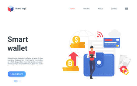 Smart wallet digital technology landing page, send, transfer or pay money banking service