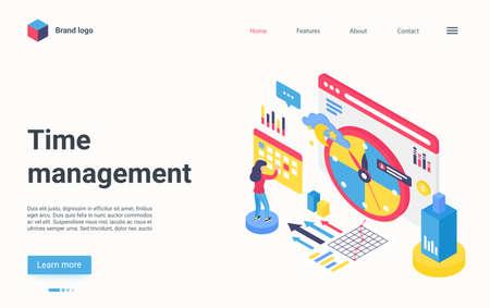 Time management technology isometric landing page, big planner calendar organizer