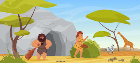 Primitive couple people, hunter caveman holding club for hunting, woman picking berries