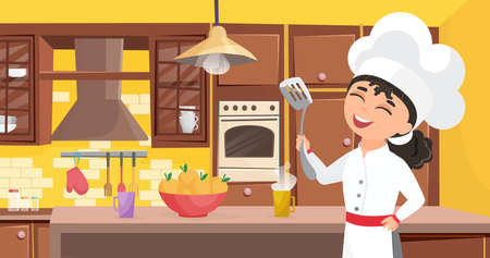 Kids chef cook food, happy cute child in cooker apron cooking meal in kitchen interior