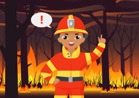 Fireman kid boy firefighter in protective uniform warning about wildfire disaster