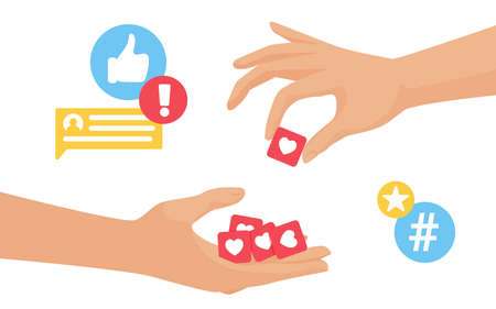 Collect likes, blogger hand collecting likes engagement feedback from followers audience