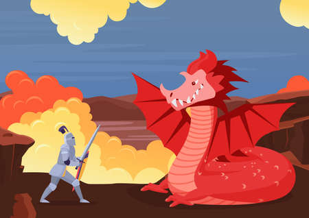 Brave knight fighting dragon, fairy tale scenery with fight between warrior and monster