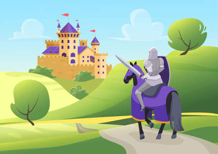 Prince knight rides horse to medieval castle, fairy tale scenery with hero in armor 向量圖像