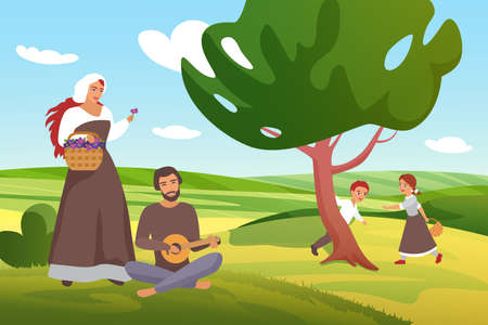 Medieval farmers peasants villagers family spend fun time in green farm village field