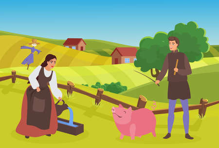 Medieval farmer family or couple people work in village, peasants grazing feeding pig