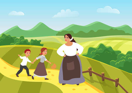 Beautiful happy peasant mother and children, medieval woman villager, son and daughter Ilustración de vector