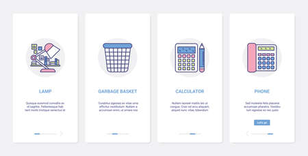 Stationery for office paper work and study UI, UX onboarding mobile app page screen set