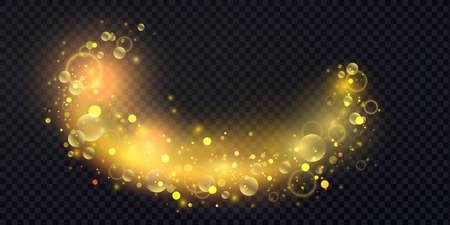 Abstract shiny confetti glittering wave light effect, magic golden wavy glitter swirl