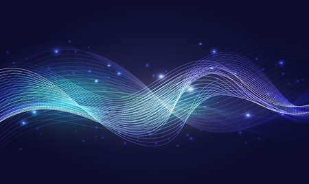Luminous neon blue waves, abstract light shine effect, magic wind with glowing sparkles