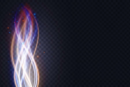 Luminous energy wavy lines, abstract light effect, glowing neon vertical stream waves