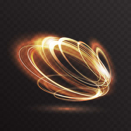 Luminous gold glow of neon rings, abstract 3d light effect, magic glowing speed motion