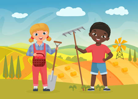 Children farmers with work tools, funny boy girl workers holding shovel and pitchfork 向量圖像