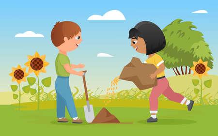 Children plant seeds, funny child boy holding shovel, little happy farmer girl planting 向量圖像