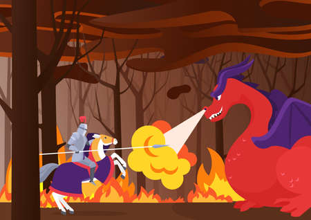 Warrior knight fights dragon, hero riding horse with shield and spear in burning forest
