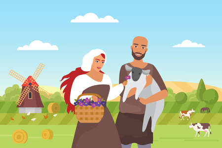 Medieval farmers and green farm field landscape, happy peasants family standing together